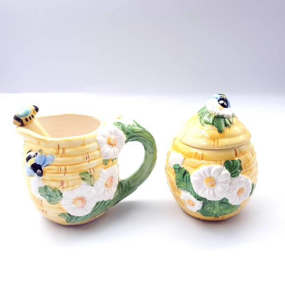 Vintage Yellow Honey Bee Cream Pitcher Sugar Pot